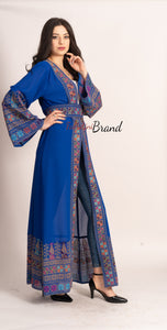 Breathtaking Palestinian Blue Georgette Embroidered Open Abaya Dress Long Sleeve With Stylish Embroidery