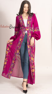 Wonderful Palestinian Purple Georgette Nol Embroidered Open Abaya Maxi Dress Long Buff Sleeve