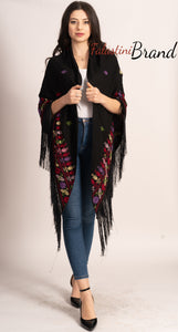 Hand Embroidered Palestinian Black Shawl With Stunning Embroidery