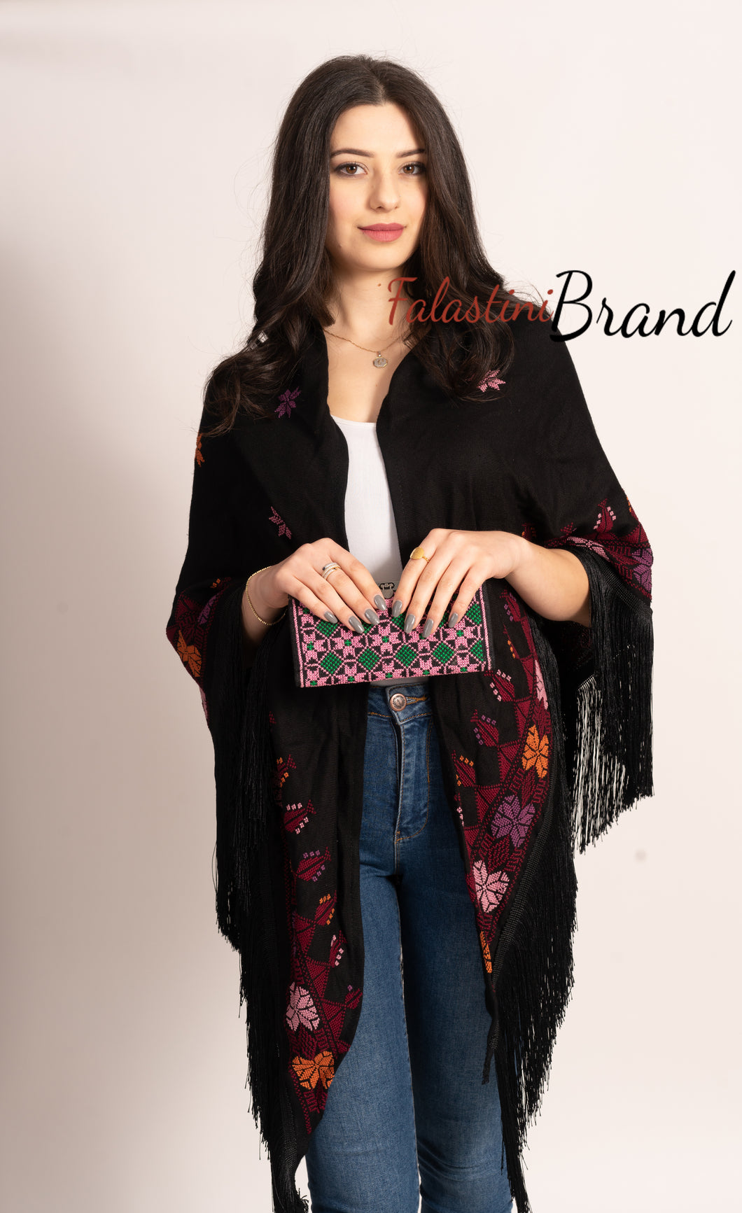 Hand Embroidered Palestinian Black Shawl With Stylish Embroidery