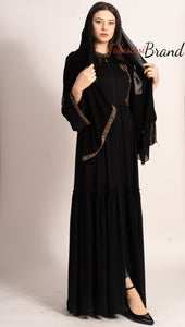 Elegant Smooth Black Abaya With Stylish Embroidery