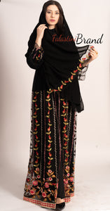 Elegant Floral 2 Pieces Black Abaya With Stylish Embroidery