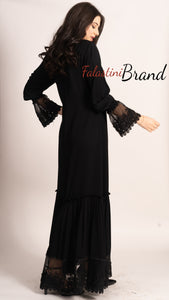 Elegant Side Tie Smooth Black Abaya With Stylish Dantel