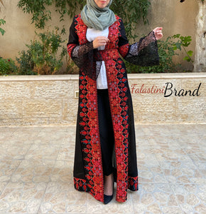 Black & Red Dantel Embroidered Palestinian Open Sheer Abaya
