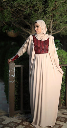 Free Size Embroidered Beige Prayer Dress Hijab Scarf Islamic Abaya Lycra Soft Prayer Clothes