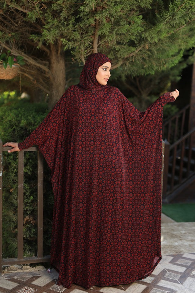 Free Size Red Prayer Dress Hijab Scarf Islamic Abaya Lycra Soft Prayer Clothes