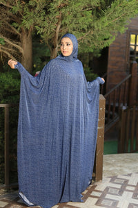 Free Size Blue Prayer Dress Hijab Scarf Islamic Abaya Lycra Soft Prayer Clothes