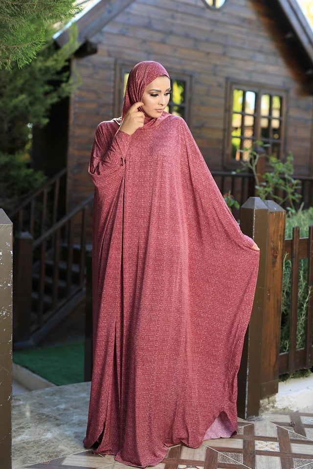 Free Size Orange Mix Prayer Dress Hijab Scarf Islamic Abaya Lycra Soft Prayer Clothes