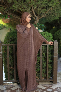 Free Size Brown Mix Prayer Dress Hijab Scarf Islamic Abaya Lycra Soft Prayer Clothes