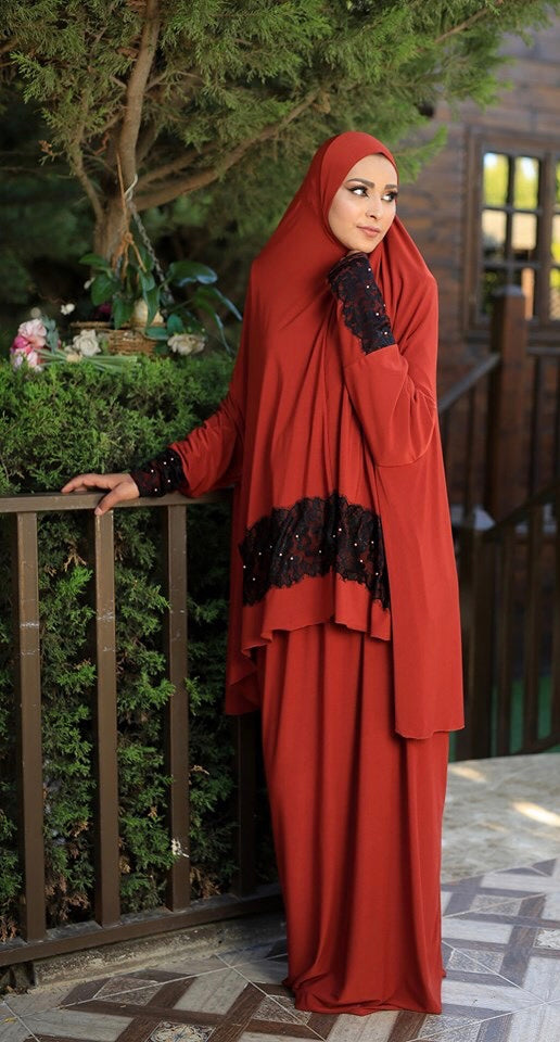 Free Size Orange Dantel Styled Prayer Dress Hijab Scarf Islamic Abaya Lycra Soft Prayer Clothes