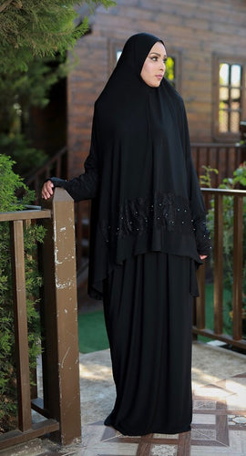 Free Size Black Dantel Styled Prayer Dress Hijab Scarf Islamic Abaya Lycra Soft Prayer Clothes