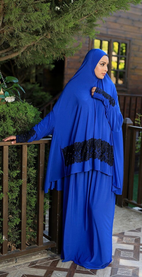 Free Size Royal Blue Dantel Styled Prayer Dress Hijab Scarf Islamic Abaya Lycra Soft Prayer Clothes