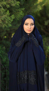 Free Size Navy Dantel Styled Prayer Dress Hijab Scarf Islamic Abaya Lycra Soft Prayer Clothes