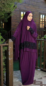 Free Size Purple Dantel Styled Prayer Dress Hijab Scarf Islamic Abaya Lycra Soft Prayer Clothes