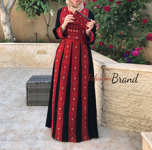 Palestine dress - Red Palestinian Style Embroidered Dress