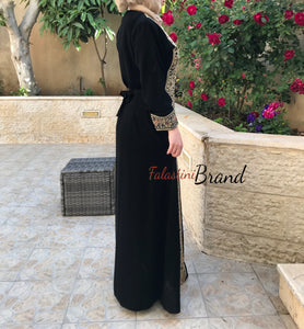 Palestine dress - Golden Palestinian Style Embroidered Dress
