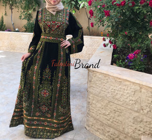 Amazing Black And Green Palestinian Embroidered Thobe Dress Long Sleeves Cross Stitch Embroidery