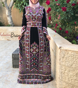 Amazing Palestinian Embroidered Thobe Dress Long Sleeves Cross Stitch Embroidery