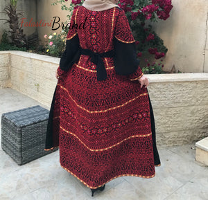 Gorgeous Black Long Dress Long Sleeve Red Embroidered Back