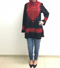 Embroidered black blouse with red embroidery - Falastini Brand