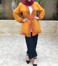 Ochre Georgette Open Jacket With Stylish Embroidery