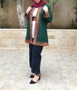 Green Georgette Open Jacket With Stylish Embroidery