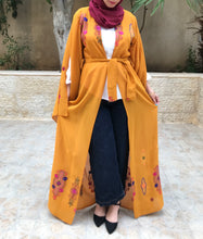 Ochre Georgette Embroidered Open Abaya Kaftan Maxi Dress Long Split Sleeve