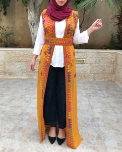 Amazing Ochre Long Embroidered Palestinian Vest