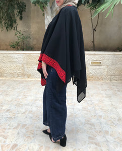 Palestinian Black Cape Shawl With Stylish Embroidery