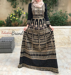 Stylish Golden Palestinian Embroidered Thobe Dress Inlaid With Rhinestones