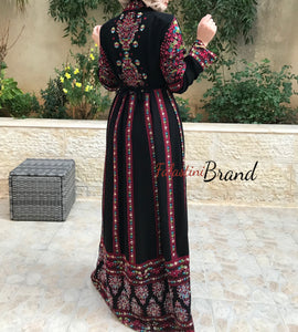 Stylish 2 Pieces Black & Red Palestinian Embroidered Thobe Dress Inlaid With Rhinestones