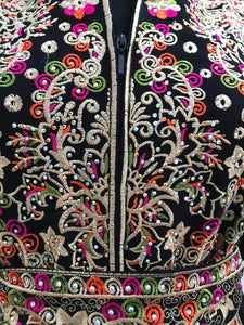 Stylish 2 Pieces Golden Palestinian Embroidered Thobe Dress Inlaid With Rhinestones