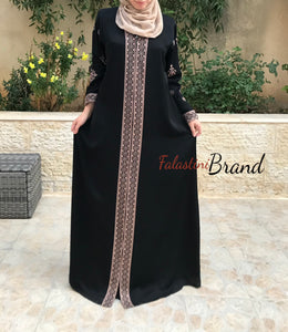 Elegant Smooth Black Zippered Abaya With Stylish Brown Embroidery
