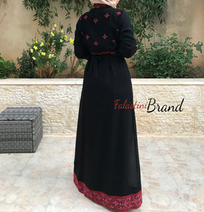 2 Pieces Star Dress Stylish Black And Red Embroidered Dress