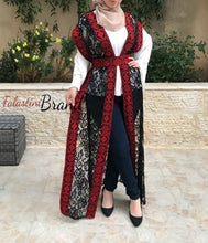 One Size Dantel Red Embroidered Palestinian Sleeveless Abaya