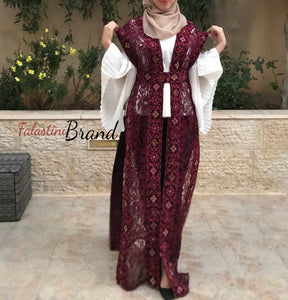 One Size Dantel Burgundy Embroidered Palestinian Sleeveless Abaya
