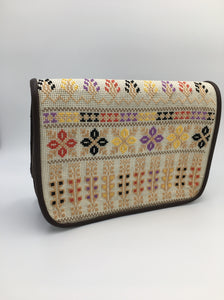 Hand embroidered brown leather handbag with amazing embroidery