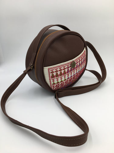 Round Hand embroidered brown leather handbag with amazing embroidery