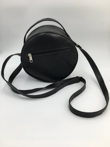 Round Hand embroidered black leather handbag with amazing embroidery