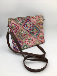 iPad Hand embroidered brown leather handbag with fabulous embroidery