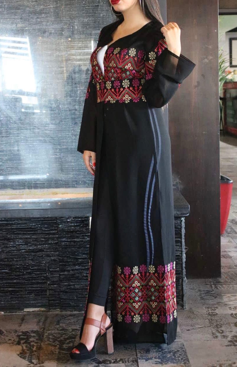 Light black embroidered long kimono/abaya with belt