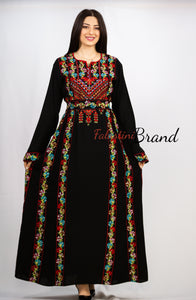 Red Floral Palestinian Embroidered Thobe Dress Long Sleeves with 8 Embroidered Flower Border Lines