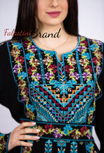 Blue Floral Palestinian Embroidered Thobe Dress Long Sleeves with 4 Embroidered Flower Border Lines