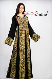 Stylish Black Yellow & Brown Palestinian Embroidered Abaya Thobe Dress