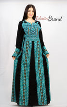 Stylish Black & Blue Palestinian Embroidered Abaya Thobe Dress