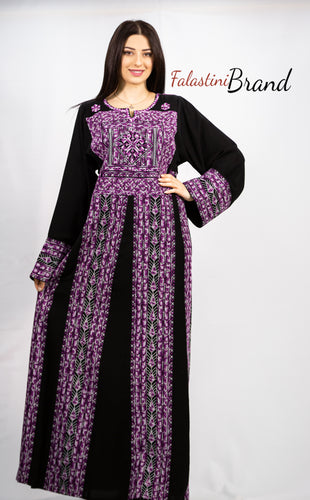 Stylish Black & Purple Palestinian Embroidered Abaya Thobe Dress