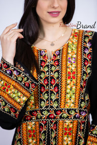 Stylish Fire Color Palestinian Embroidered Abaya Thobe Dress