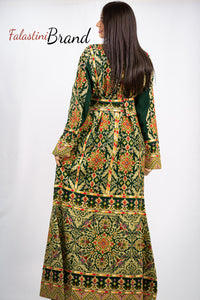 Stylish Green Palestinian Fish Cut Embroidered Thobe Dress