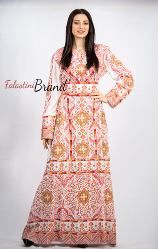 Stylish White Palestinian Fish Cut Embroidered Thobe Dress