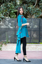 Stylish Turquoise Sheer Cape Palestinian Embroidery